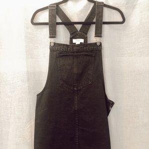 Black denim overalls dress